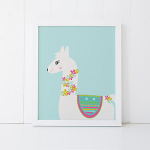 Print - Blue Llama Wall Art Print by mumandmehandmadedesigns- An Australian Online Stationery and Card Shop