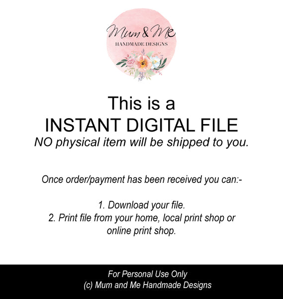 PDF Digital File - Monthly Calendar 2019 Printable by mumandmehandmadedesigns- An Australian Online Stationery and Card Shop