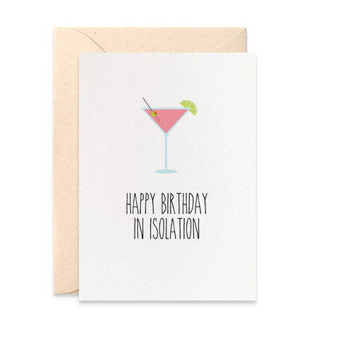 Cocktail In Isolation Greeting Card by mumandmehandmadedesigns- An Australian Online Stationery and Card Shop
