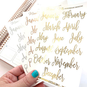 Foiled - Script Monthly Headers Planner Stickers by mumandmehandmadedesigns- An Australian Online Stationery and Card Shop