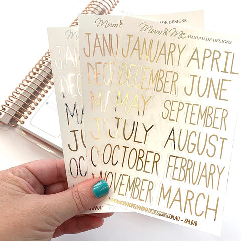 Foiled - Skinny Monthly Headers Planner Stickers by mumandmehandmadedesigns- An Australian Online Stationery and Card Shop
