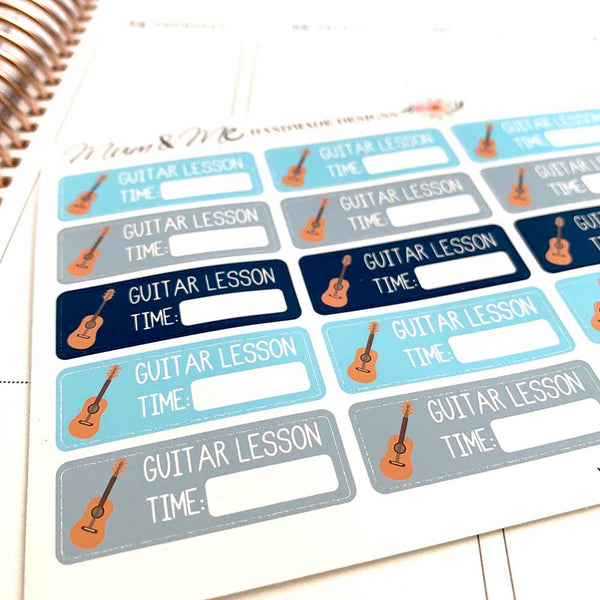 Stickers - Guitar Lesson-Planner Stickers by Mum and Me Handmade Designs - An Australian Online Stationery, Planner Stickers and Card Shop