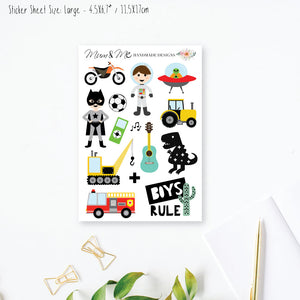 Stickers Large - Boys Rule Planner Stickers by mumandmehandmadedesigns- An Australian Online Stationery and Card Shop