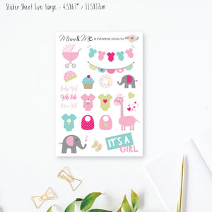 Stickers Large - It's a Girl Planner Stickers by mumandmehandmadedesigns- An Australian Online Stationery and Card Shop