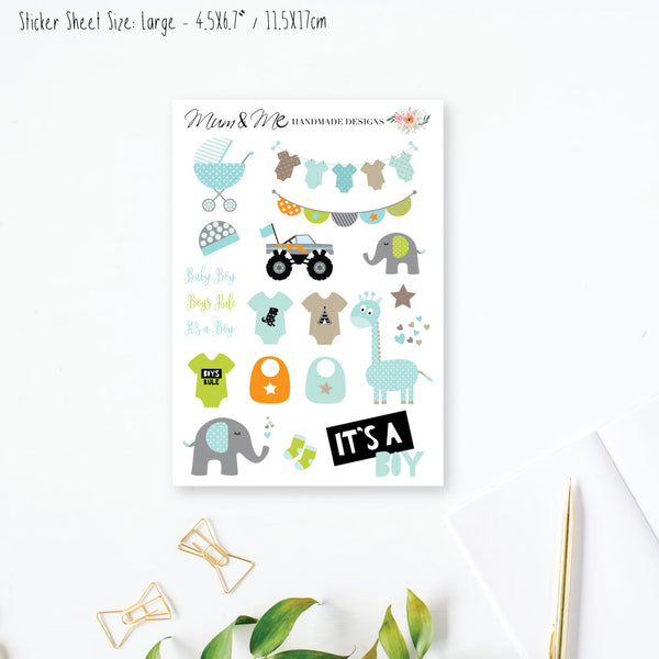 Stickers Large - It's a Boy Planner Stickers by mumandmehandmadedesigns- An Australian Online Stationery and Card Shop