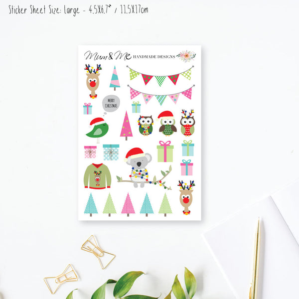 Stickers Large - Christmas-Planner Stickers by Mum and Me Handmade Designs - An Australian Online Stationery, Planner Stickers and Card Shop