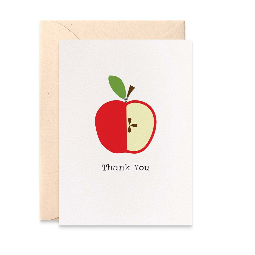 Teacher Red Apple Greeting Card by mumandmehandmadedesigns- An Australian Online Stationery and Card Shop