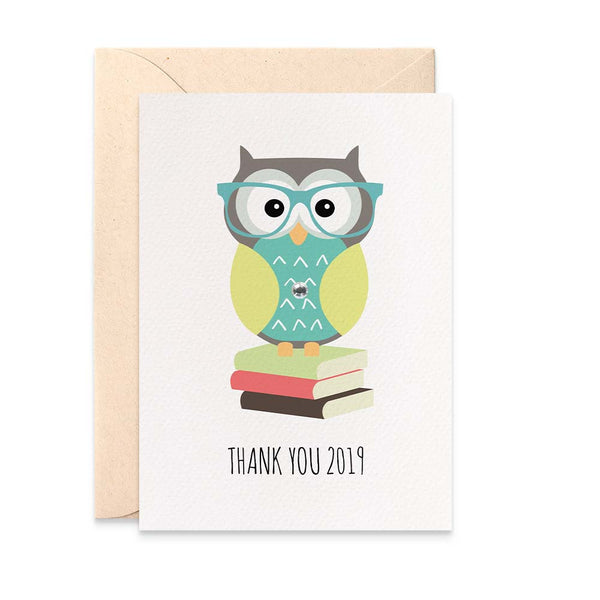 Teacher - Owl on Books Greeting Card by mumandmehandmadedesigns- An Australian Online Stationery and Card Shop