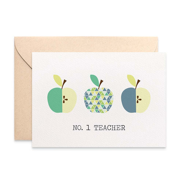 Teacher Blue Green Apples Greeting Card by mumandmehandmadedesigns- An Australian Online Stationery and Card Shop