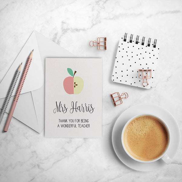 Personalised Teacher Card - Blush Greeting Card by mumandmehandmadedesigns- An Australian Online Stationery and Card Shop