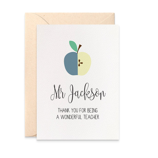 Personalised Teacher Card - Blue Greeting Card by mumandmehandmadedesigns- An Australian Online Stationery and Card Shop