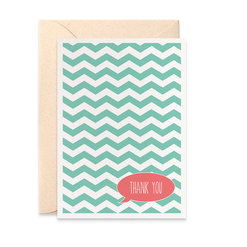 Turquoise Chevron Greeting Card by mumandmehandmadedesigns- An Australian Online Stationery and Card Shop