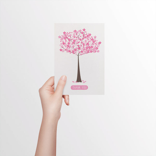 Thank You - Cherry Blossom Greeting Card by mumandmehandmadedesigns- An Australian Online Stationery and Card Shop