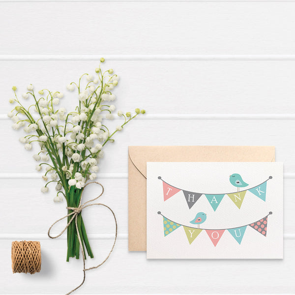 Thank You Bunting Greeting Card by mumandmehandmadedesigns- An Australian Online Stationery and Card Shop