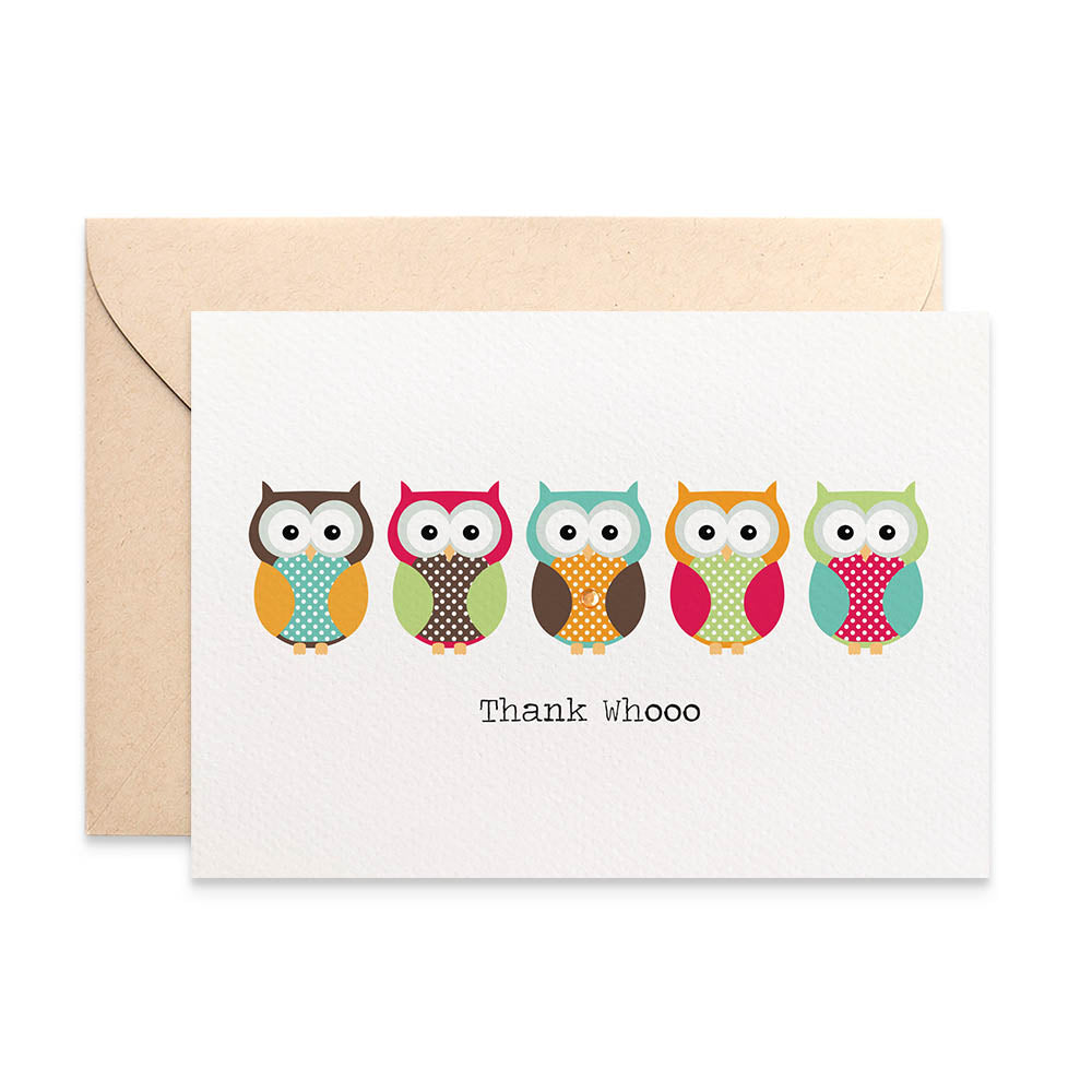 Owls Thank Whoo Greeting Card by mumandmehandmadedesigns- An Australian Online Stationery and Card Shop
