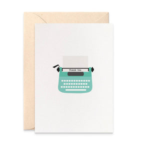 Turquoise Typewriter Greeting Card by mumandmehandmadedesigns- An Australian Online Stationery and Card Shop