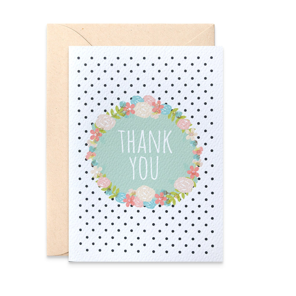 Thank You Wreath Greeting Card by mumandmehandmadedesigns- An Australian Online Stationery and Card Shop