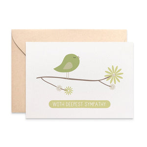 Green Bird on Branch Greeting Card by mumandmehandmadedesigns- An Australian Online Stationery and Card Shop