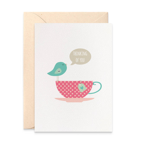 Birdie on Teacup Greeting Card by mumandmehandmadedesigns- An Australian Online Stationery and Card Shop
