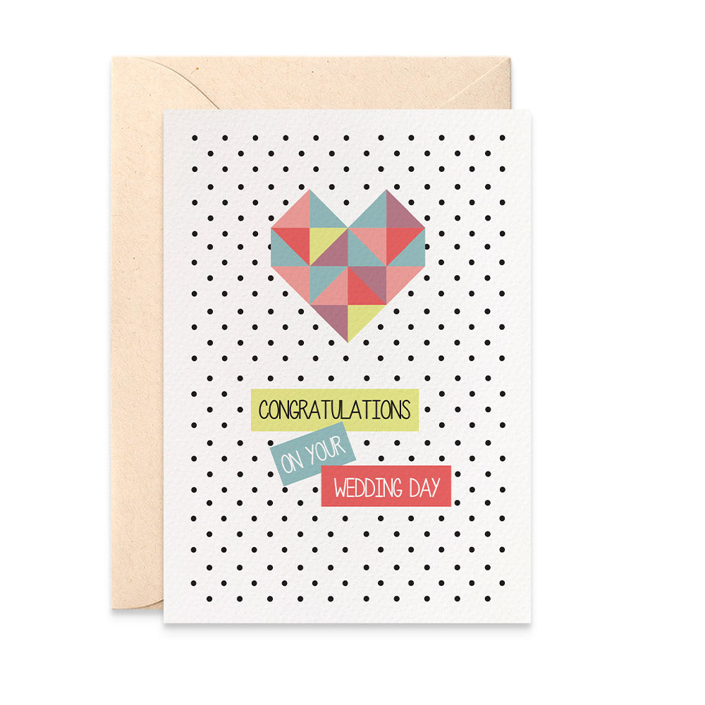 Geometric Bright Heart Greeting Card by mumandmehandmadedesigns- An Australian Online Stationery and Card Shop