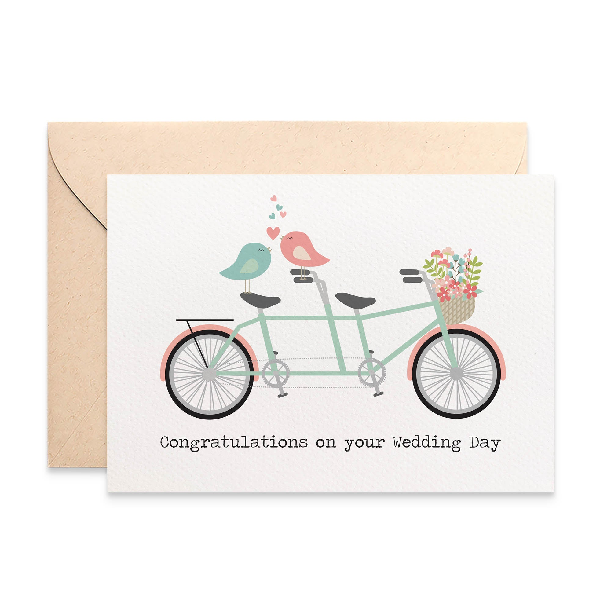 Tandem Bike with Love Birds Greeting Card by mumandmehandmadedesigns- An Australian Online Stationery and Card Shop