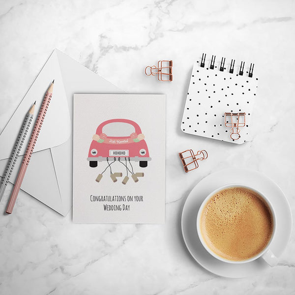 Bridal Car Just Married Greeting Card by mumandmehandmadedesigns- An Australian Online Stationery and Card Shop