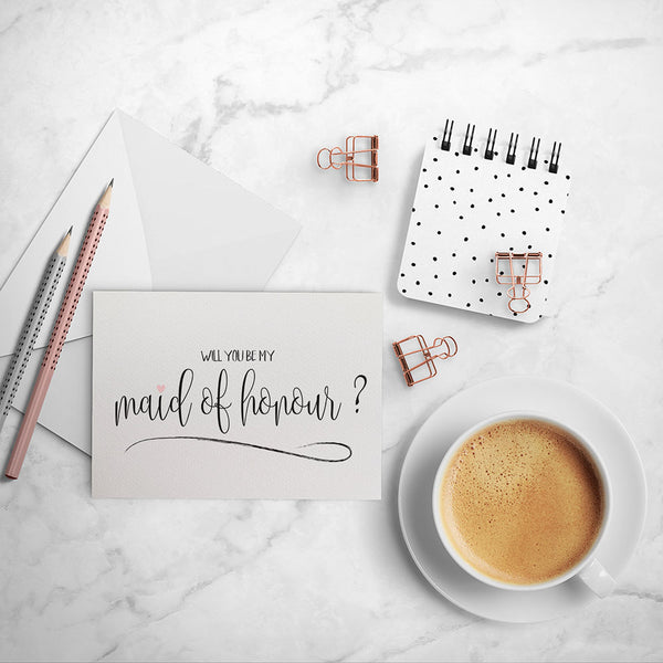 Maid of Honour Script Greeting Card by mumandmehandmadedesigns- An Australian Online Stationery and Card Shop