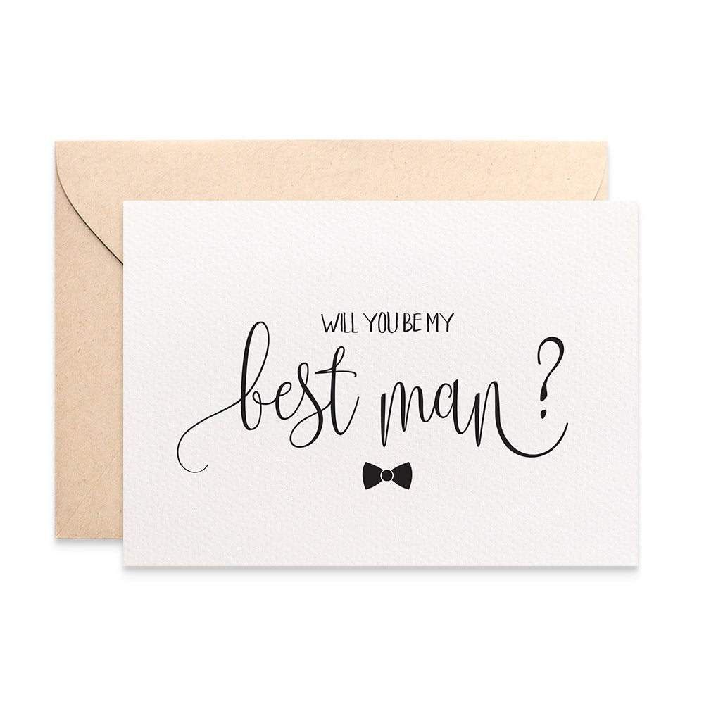 Best Man Bow Tie Greeting Card by mumandmehandmadedesigns- An Australian Online Stationery and Card Shop
