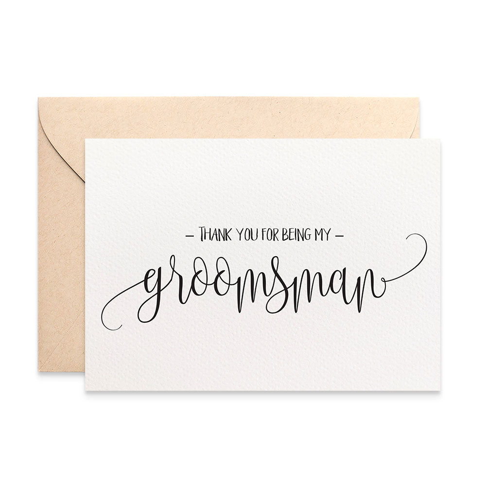 Thank you Groomsman Script Greeting Card by mumandmehandmadedesigns- An Australian Online Stationery and Card Shop