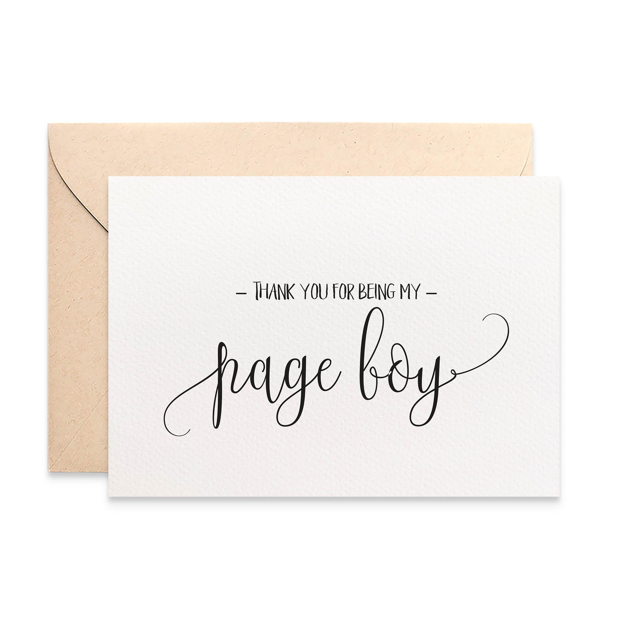 Thank you Page Boy Script Greeting Card by mumandmehandmadedesigns- An Australian Online Stationery and Card Shop