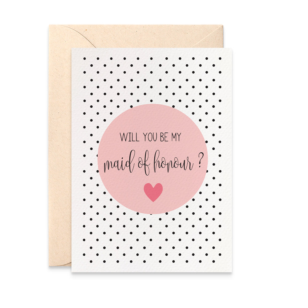 Maid of Honour Blush Greeting Card by mumandmehandmadedesigns- An Australian Online Stationery and Card Shop