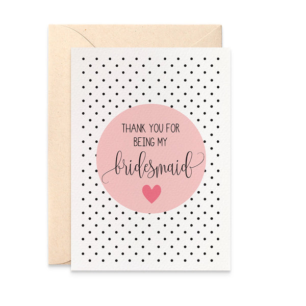 Thank You Bridesmaid Blush Greeting Card by mumandmehandmadedesigns- An Australian Online Stationery and Card Shop