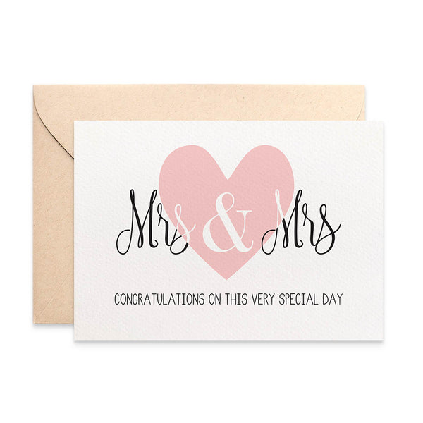 Mrs & Mrs Lrg Blush Heart Greeting Card by mumandmehandmadedesigns- An Australian Online Stationery and Card Shop