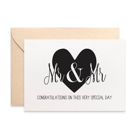 Mr & Mr Lrg Black Heart Greeting Card by mumandmehandmadedesigns- An Australian Online Stationery and Card Shop