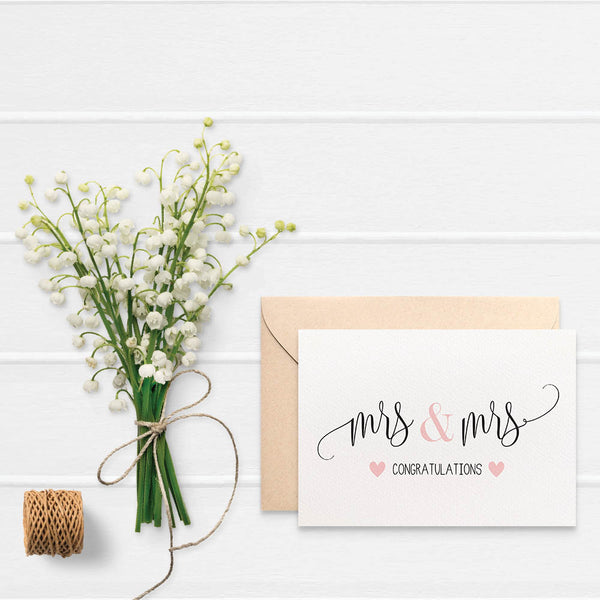 Mrs & Mrs Blush Hearts Greeting Card by mumandmehandmadedesigns- An Australian Online Stationery and Card Shop