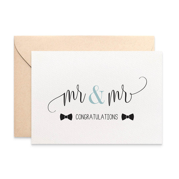 Mr & Mr Bow Ties Greeting Card by mumandmehandmadedesigns- An Australian Online Stationery and Card Shop