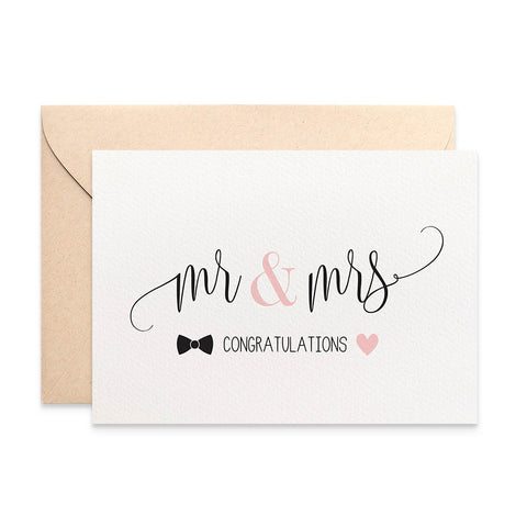 Mr & Mrs Bow Tie and Heart Greeting Card by mumandmehandmadedesigns- An Australian Online Stationery and Card Shop