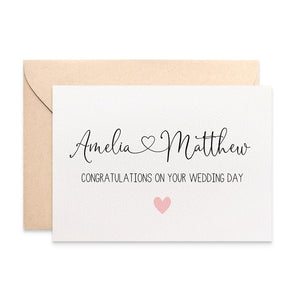 Personalised - Bride and Groom Names with Heart Greeting Card by mumandmehandmadedesigns- An Australian Online Stationery and Card Shop