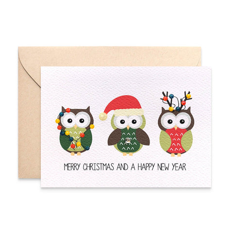 3 Christmas Owls Greeting Card by mumandmehandmadedesigns- An Australian Online Stationery and Card Shop