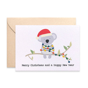 Koala with Christmas Lights Greeting Card by mumandmehandmadedesigns- An Australian Online Stationery and Card Shop