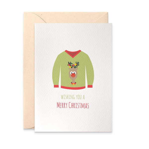 Ugly Christmas Jumper Greeting Card by mumandmehandmadedesigns- An Australian Online Stationery and Card Shop