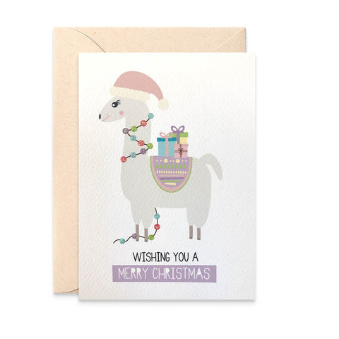 Llama with Christmas Lights Greeting Card by mumandmehandmadedesigns- An Australian Online Stationery and Card Shop