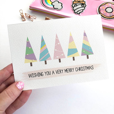 Pastel Christmas Trees Greeting Card by mumandmehandmadedesigns- An Australian Online Stationery and Card Shop
