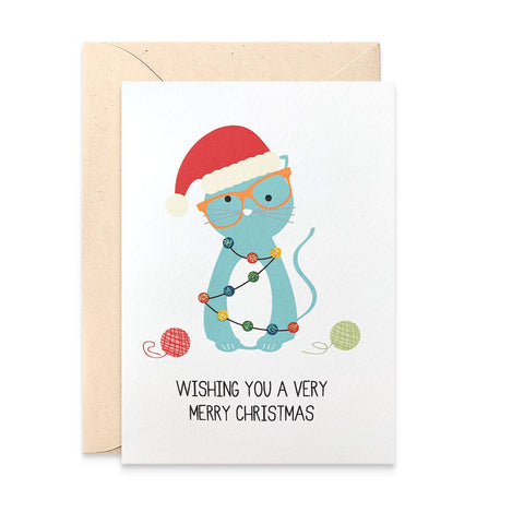 Cat with Christmas Lights Greeting Card by mumandmehandmadedesigns- An Australian Online Stationery and Card Shop