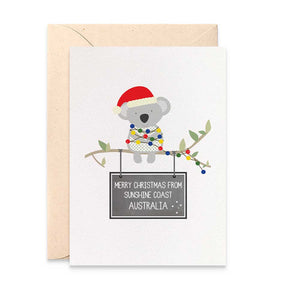 Personalised Koala Christmas Greeting Card by mumandmehandmadedesigns- An Australian Online Stationery and Card Shop