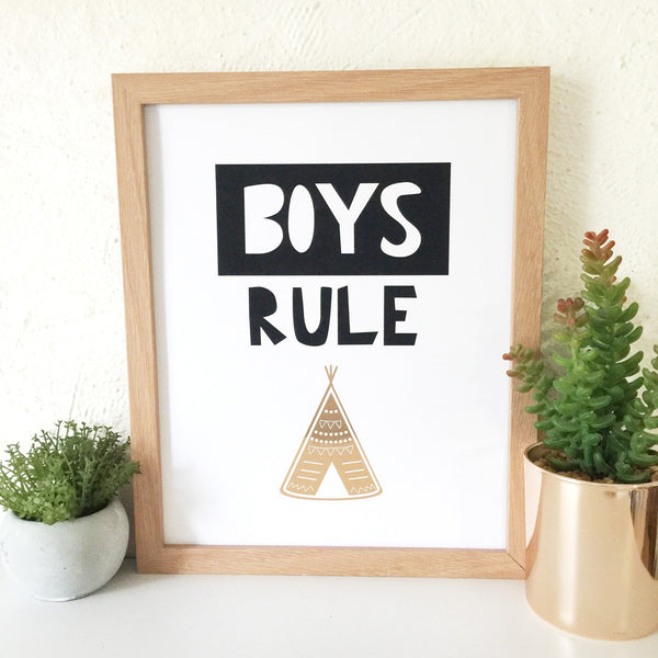 Print - Boys Rule Teepee Wall Art Print by mumandmehandmadedesigns- An Australian Online Stationery and Card Shop