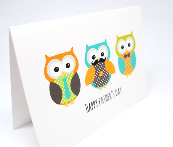 Owl Dads in Row Greeting Card by mumandmehandmadedesigns- An Australian Online Stationery and Card Shop