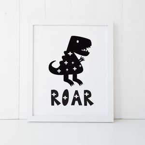 Print - Dinosaur Roar Wall Art Print by mumandmehandmadedesigns- An Australian Online Stationery and Card Shop