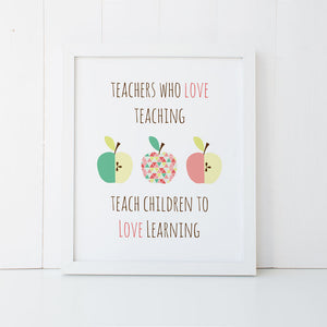 Print - Apple Teacher Quote Wall Art Print by Mum and Me Handmade Designs - An Australian Stationery Online Shop