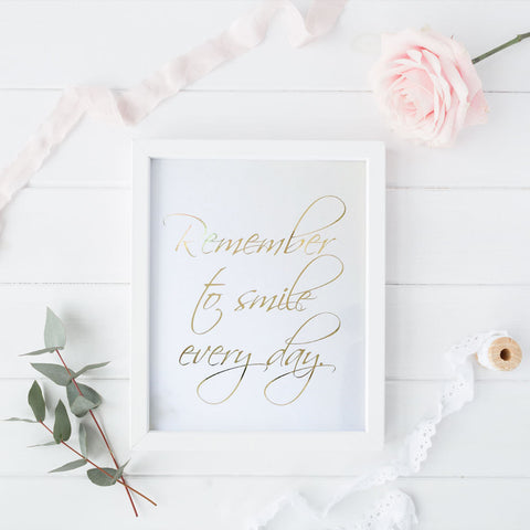 Print - Remember to Smile Wall Art Print by Mum and Me Handmade Designs - An Australian Stationery Online Shop